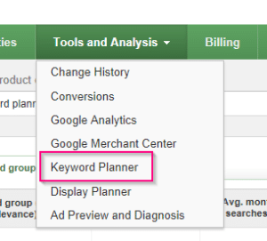 Keyword Planner in Google Adwords