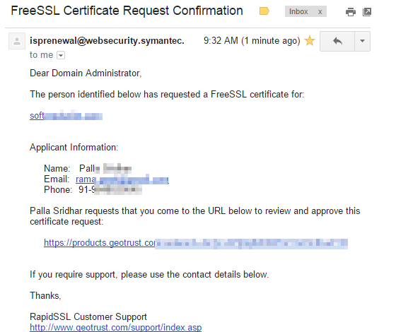 FreeSSL-Certificate-Request-Confirmation-gmail