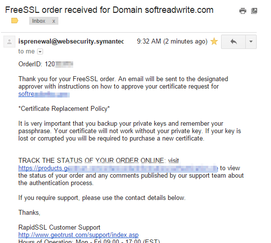 FreeSSL order received for Domain