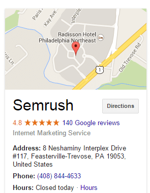 SEMRush location and details