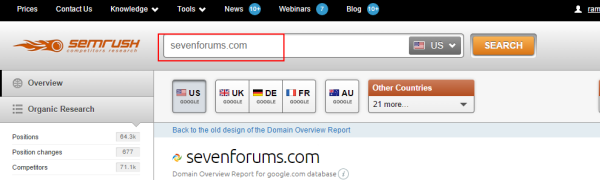 Using SEMrush finding referring domains to a competitor