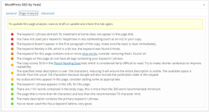 Typical page - analysis suggestions by Yoast SEO plugin