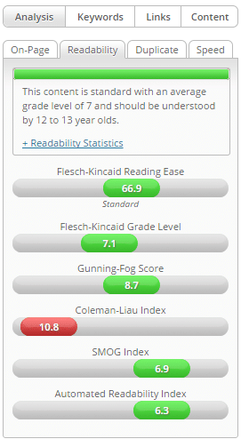 Finding readability levels using easy wp seo plugin