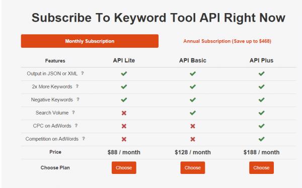 KeywordTool.io-API-plans-