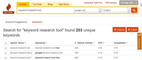 KeywordTool.io features in action - review