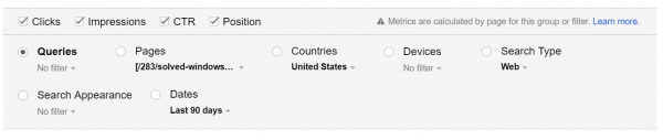 sorting search queries based on impressions, pages and country