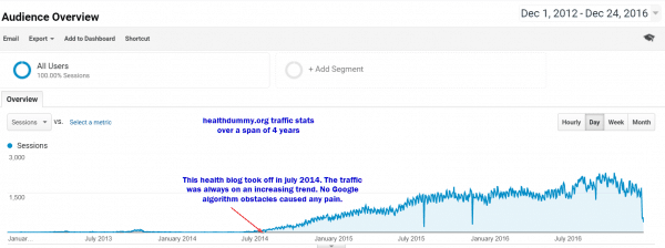 traffic analysis of health blog in google analytics