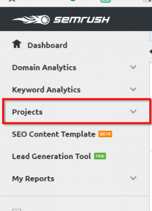 Projects and SITE audit using SEMRUSH