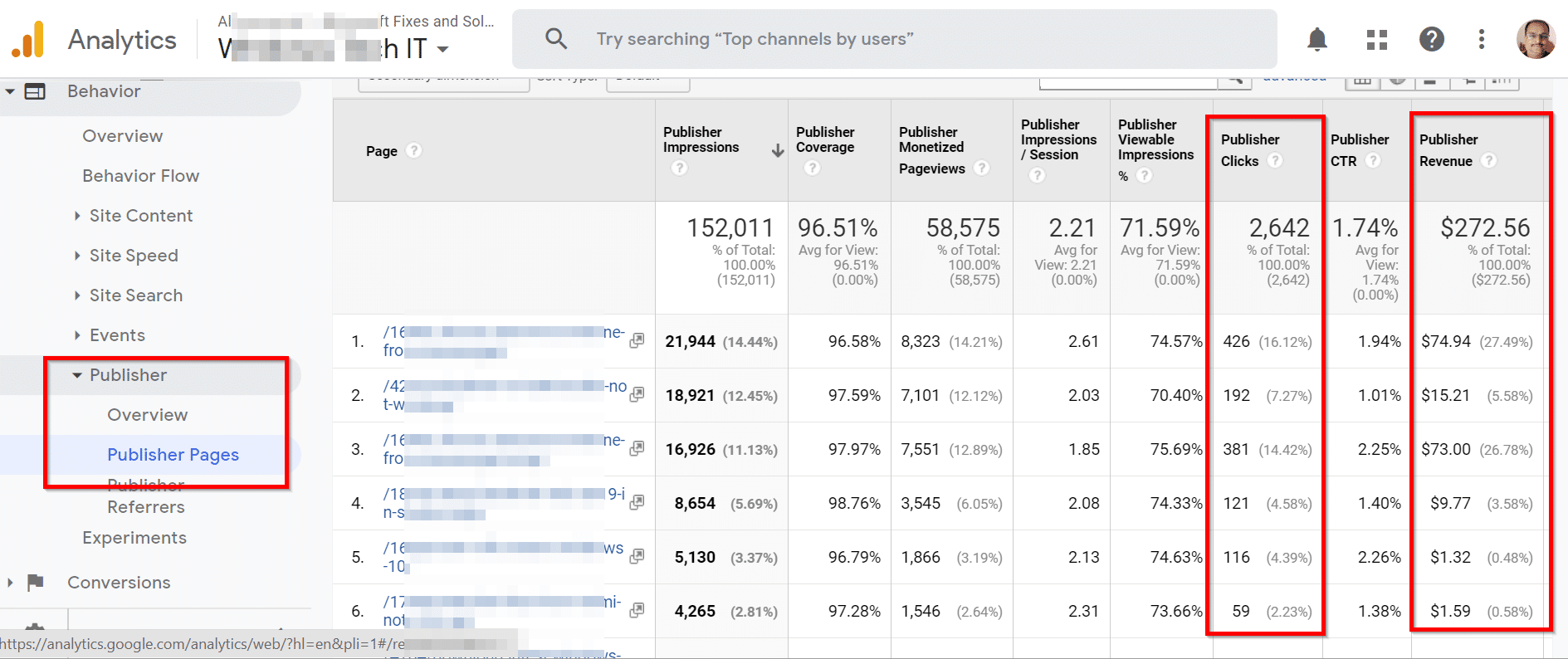 How to view Publisher Revenue Pages in Google Analytics