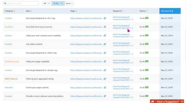 SEMrush On Page SEO Checker Tool for Optimization Ideas 6