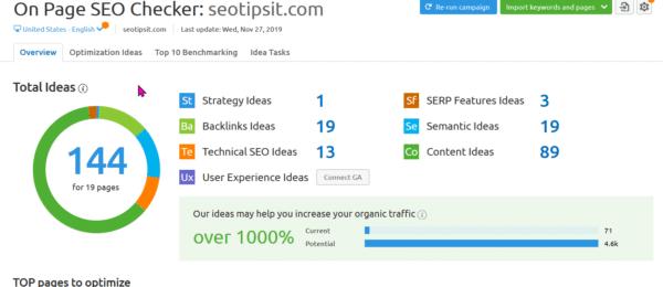 SEMrush On Page SEO Checker Tool for Optimization Ideas 2